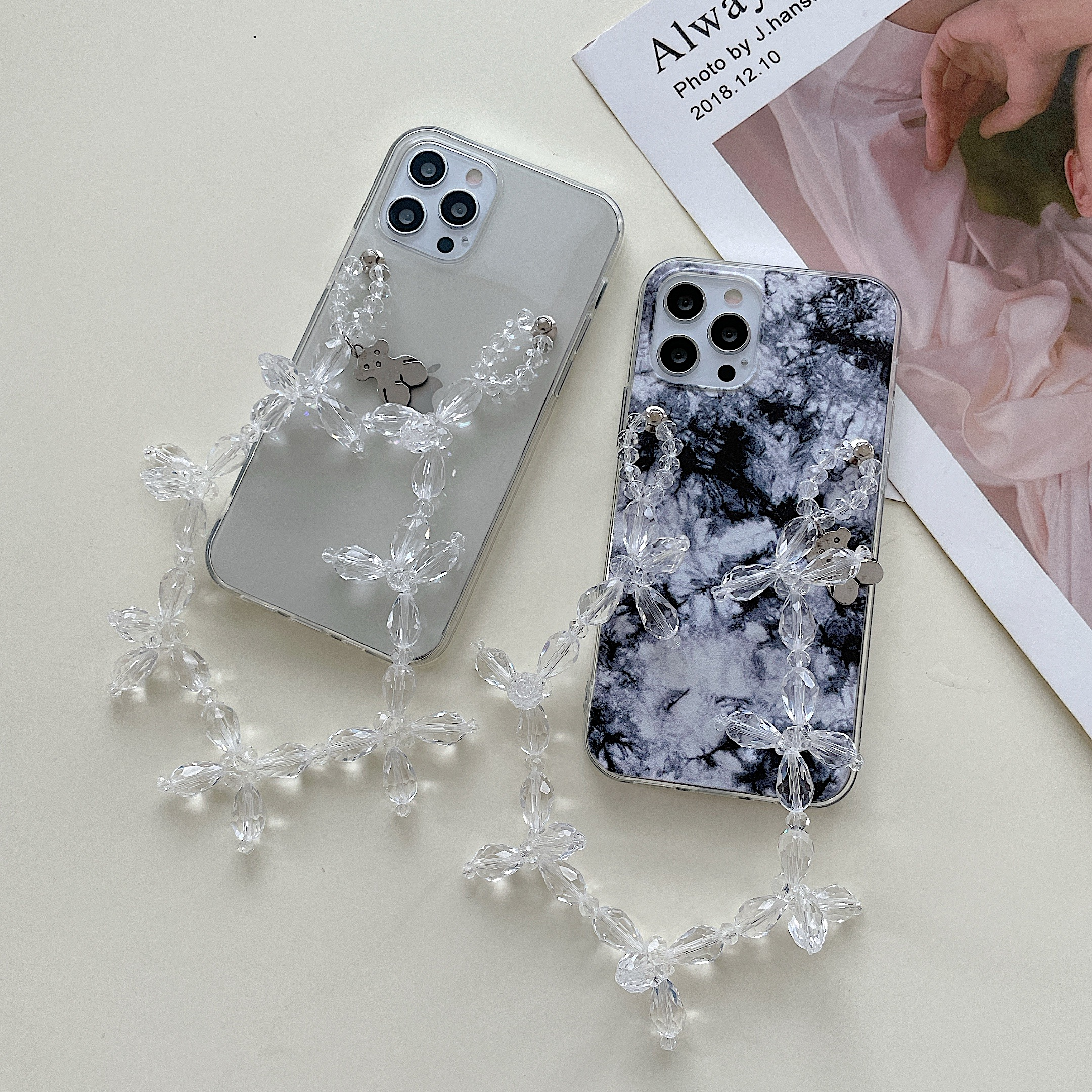 Bead Chain Ink Painting Transparent Soft Phone Case For iPhone 12 Pro Max MiNi 11 Pro Max X XR XS MAX 6 S 8 7 plus SE Cover