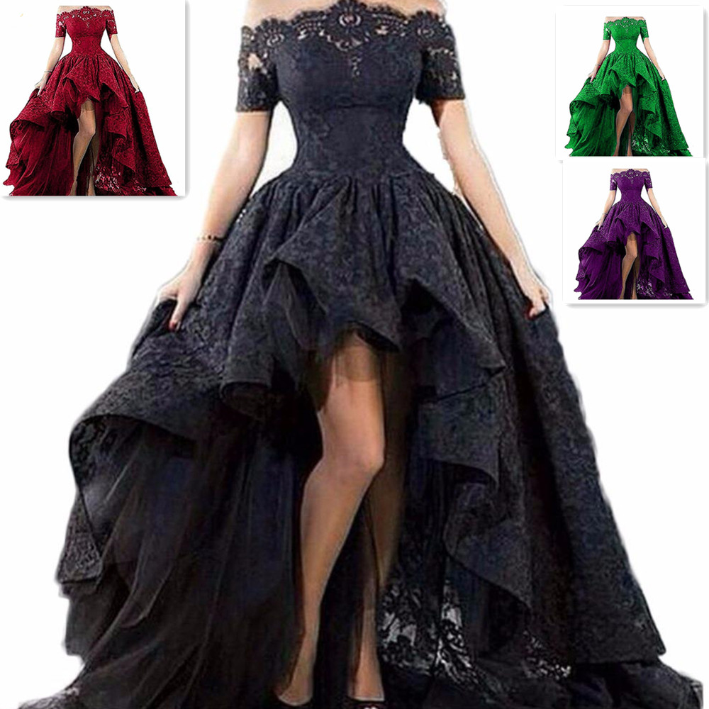2019 Black Hi-Lo Short Sleeve Lace Wedding Dress Formal Occasion Party Bridal Gown Custom Bridal Size
