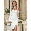 Turtleneck Long Sleeve Women Dress New Style Diamonds Bandage Bodycon Vestidos White One Shoulder Ladies Dresses Party Club