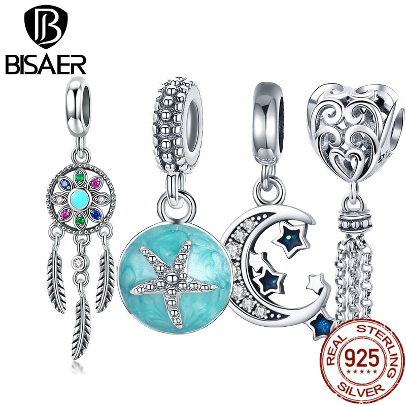 BISAER Starfish Moon Charms 925 Sterling Silver Summer Sea Starfish Moon STARS Pendants Charms Fit Bracelet Beads Jewelry Making