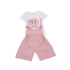 Комплект одежды с шортами на бретельках с рисунком для маленьких девочек, хлопковая футболка, блузка с рисунком, шорты на бретелях, повседне...