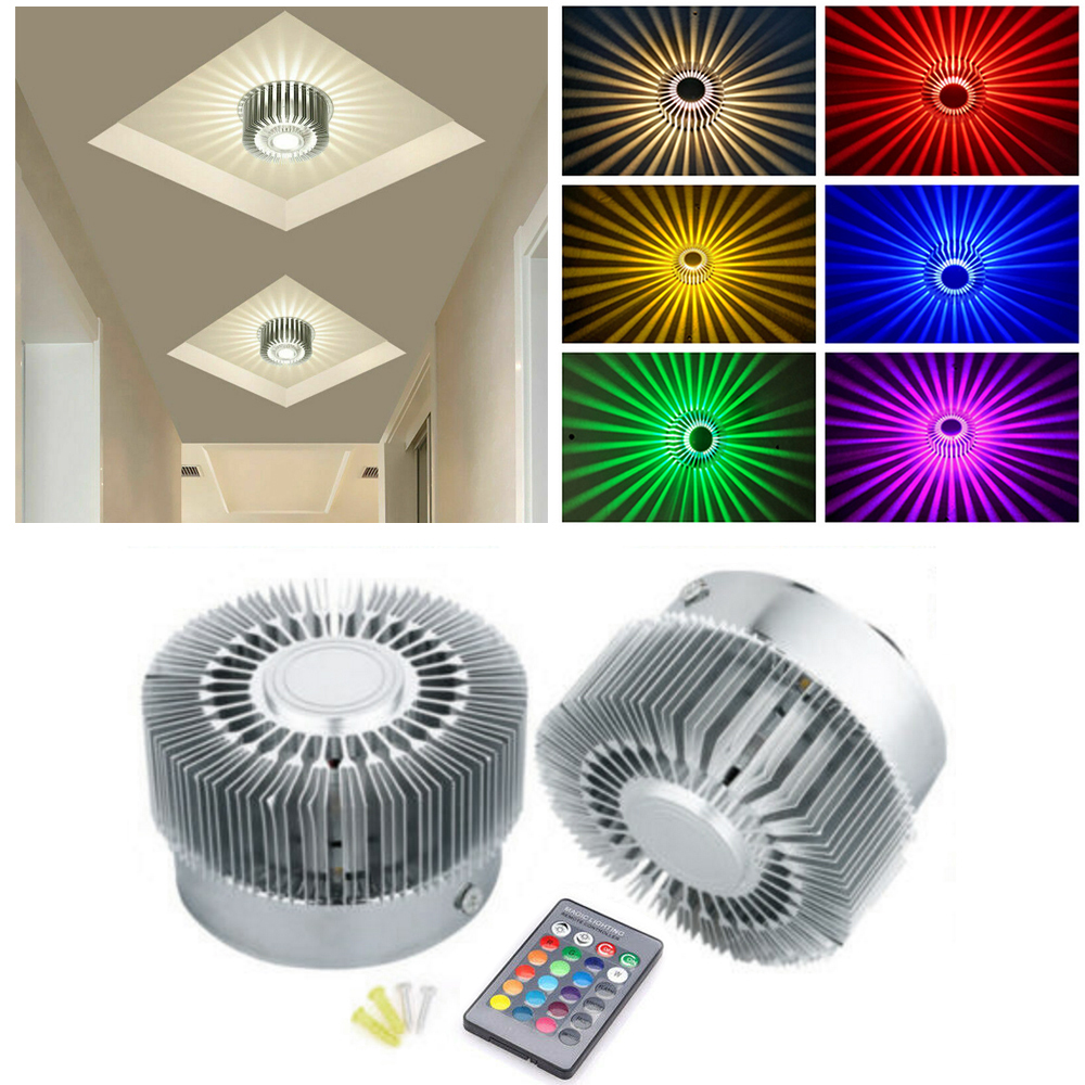 Mounted LED Wall Light RGB Effect Lamp Sunflower Projection Rays Corridor Wall Lamp AC110V 220V Remote Control 1W/ 3W