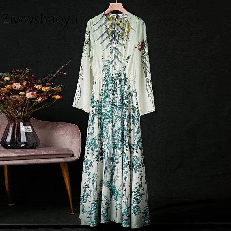 Ziwwshaoyu Elegant Flower Print 100% Silk Spring Summer Long Sleeve Maxi Dresses Women's High Quality Clothing