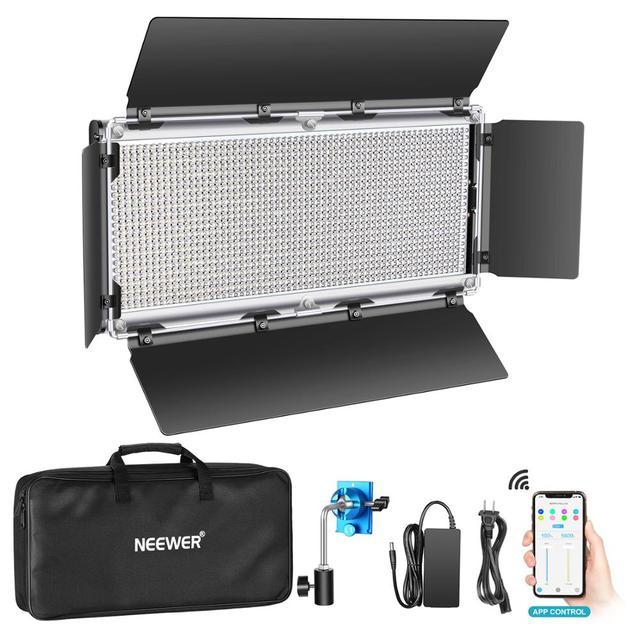 Neewer 1320 LED Luce Video con APP Sistema di Controllo Intelligente, dimmerabile 3200K 5600K Bi Fotografia a Colori Kit di Illuminazione