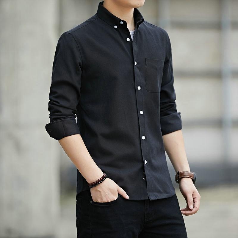 High Quality Men's Oxford Shirt Long Sleeve Oxford Shirt Men Pocket Black Casual Shirts Camisa Social Masculina Street Wear