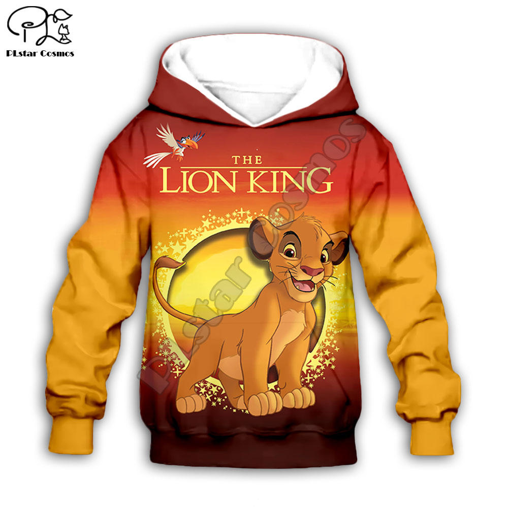 Simba The Lion King cartoon hoodie Kids baby 3D print zipper hoodies Sweatshirts boy girl Long sleeve Top Pants for Dropshipping