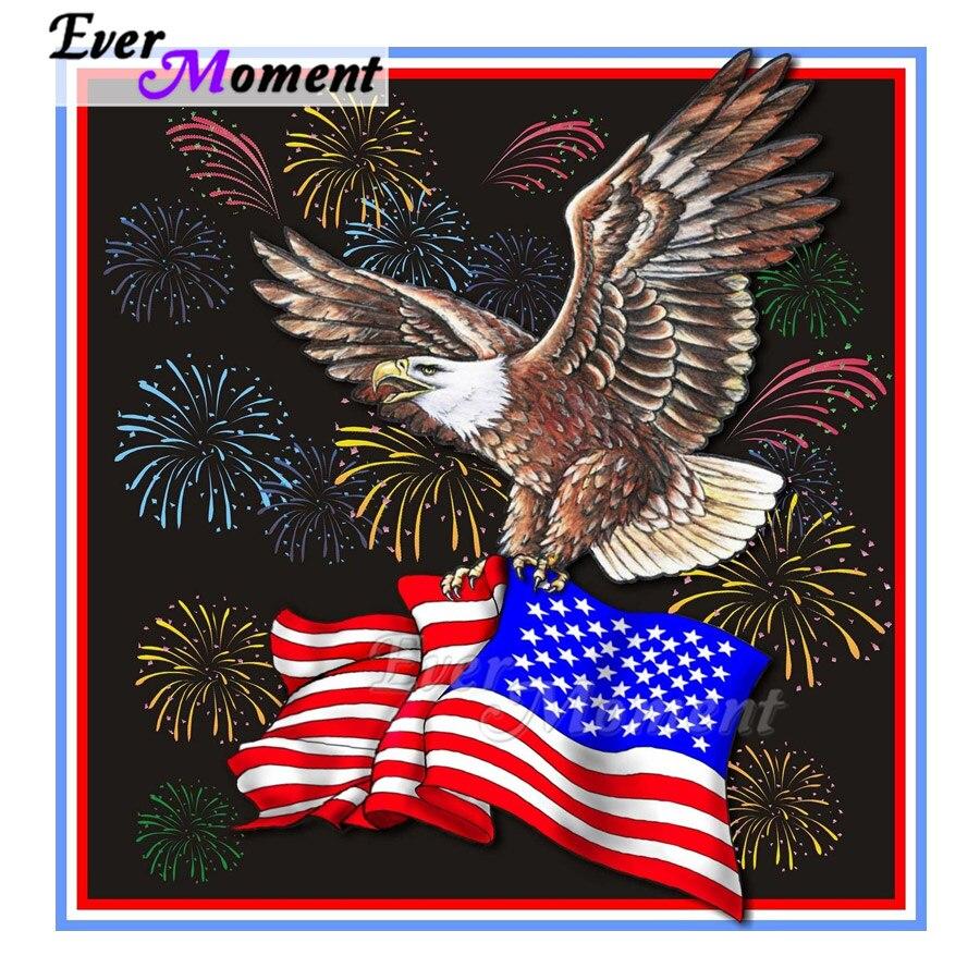 Ever Moment алмазная живопись Орел американский флаг фейерверк 5D DIY Стразы мозаика полностью квадратная дрель Алмазная вышивка ASF2038