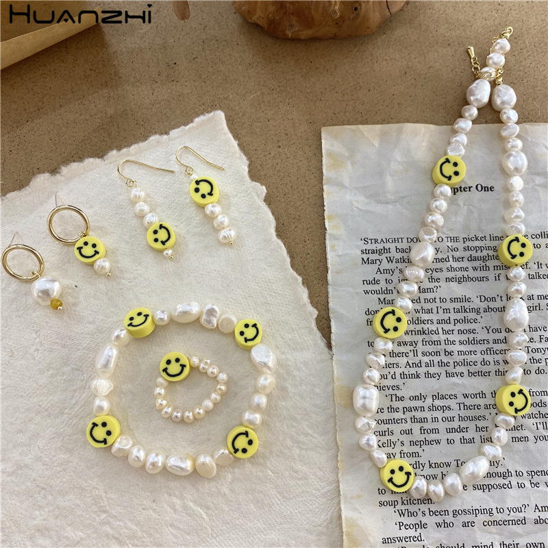 HUANZHI 2020 корейские новые винтажные натуральные пресноводные жемчужины неправильной формы милые смайлики простые бусины кольца для женщин д...