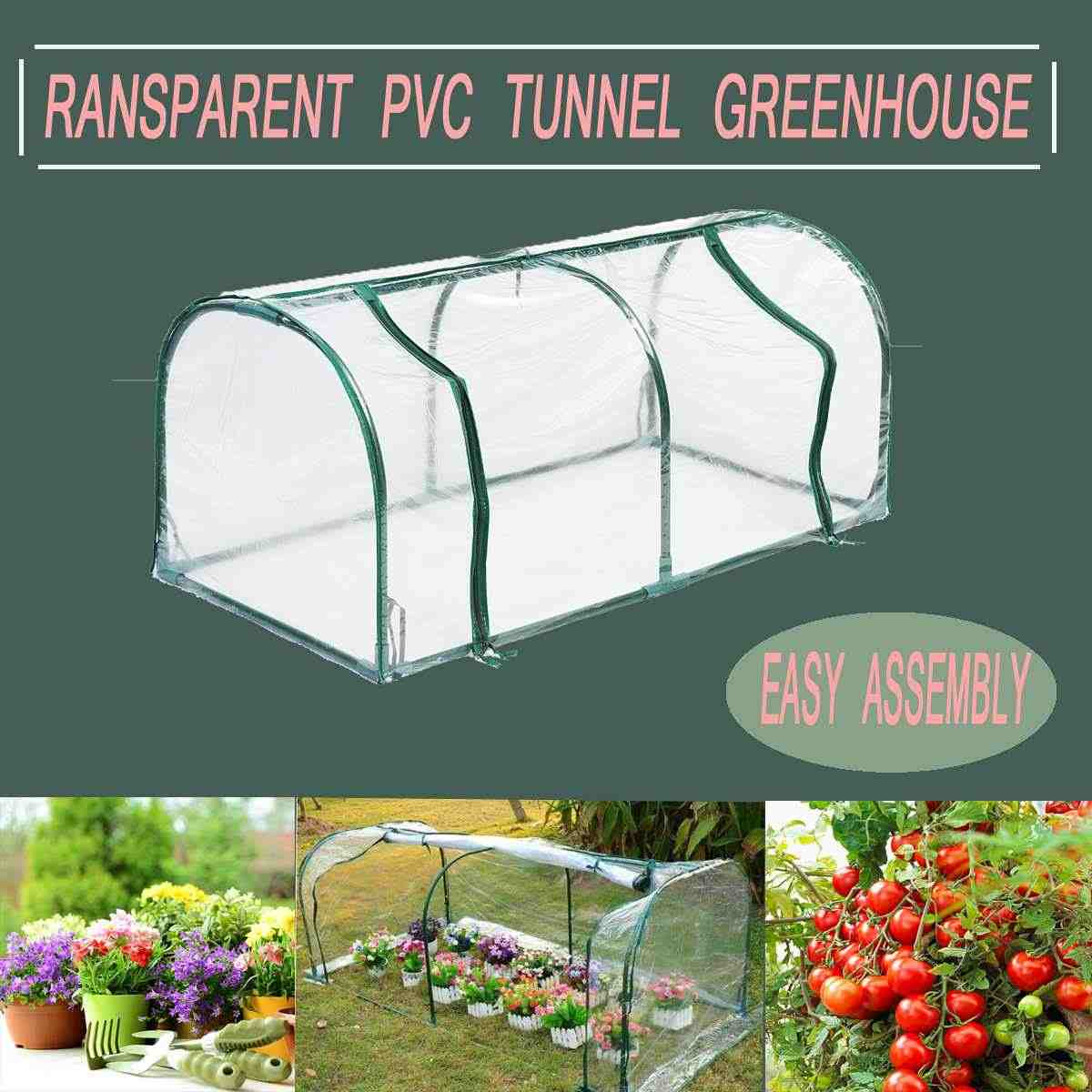 Removable Steel Frame Outdoor Plant Cover Zipper Garden Green House 128X60X58CM PVC Warm Garden Household Plant Greenhouse Cover