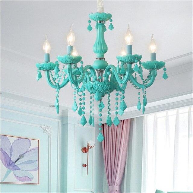 Modern Crystal led chandelier for living room Bedroom Kitchen light Fixtures lustre de cristal teto Green Color glass chandelier