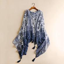 Винтажный женский шарф Китайский Стиль белого и голубого цвета