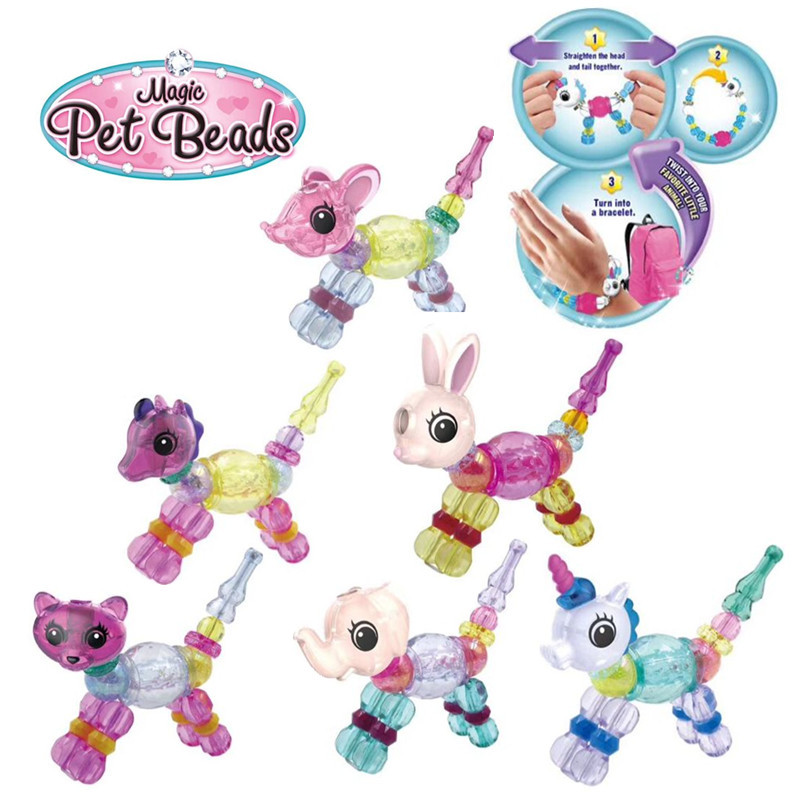 Children DIY Beading Chain-Fairy Bracelets Magic Animal Unicorn Cute CHILDREN'S Toy Flexible Bracelets
