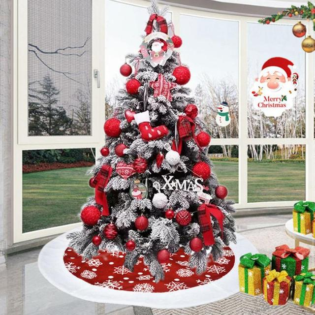 100CM Red/Gray Christmas Tree Skirt Carpet New Year Decorations Xmas Decoration Tree Skirt Ornaments Festive Party Supplies 1