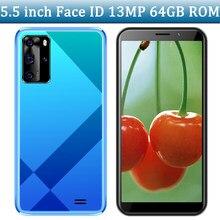 Telefones celulares 9s frente/câmera traseira 5mp + 13mp mtk quad core 4g ram 64g rom wifi smartphones face id 5.5