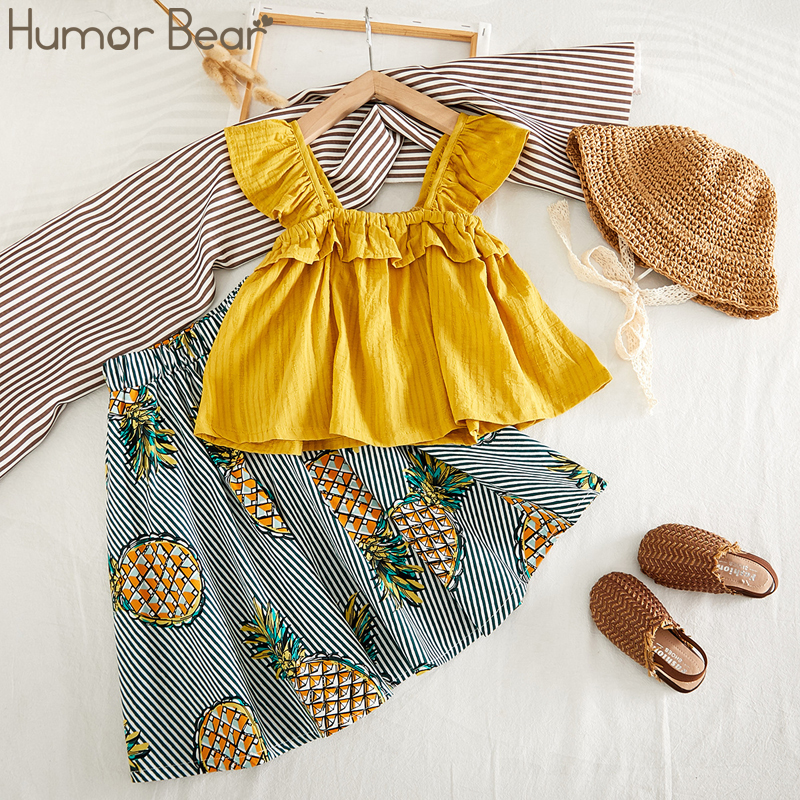 Humor Bear Baby Girls Clothing Set Summer New Lace Sleeveless T-shirt+Striped Fruit Dress Kids 2PCS Suit Toddler Girl Clothes