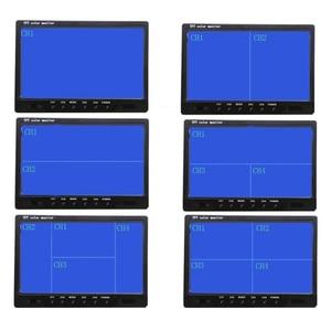 Camecho, 9 дюймов, 4 раздельных экрана, автомобильный монитор, 12 В/24 В, подголовник, монитор заднего вида с разъемами RCA, 6 режимов, дисплей, дистанционное управление