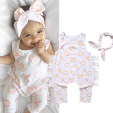 Fashion Newborn Baby Girl Clothes Summer 2017 Cotton Sleeveless Tassel Romper Playsuit +Headband 2PCS Outfit girl clthing