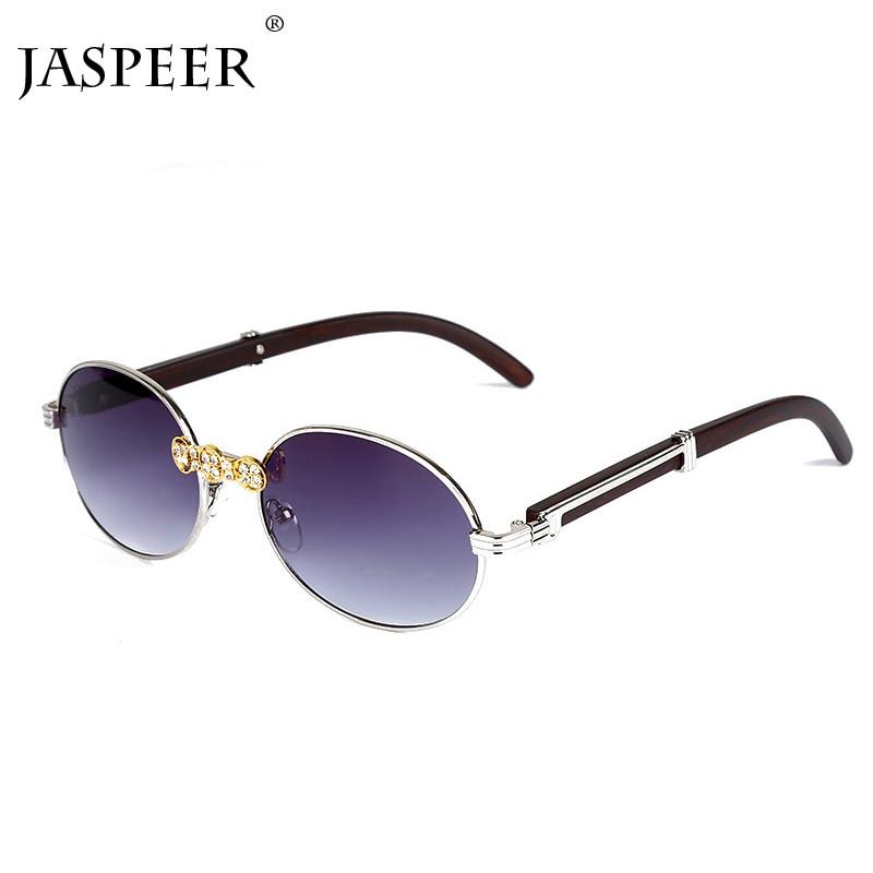 JASPEER Rhinestone Vintage Sunglasses Women Luxury Diamond Retro Sunglasses Men Brand Designer Round Sunglasses Women Eyewear