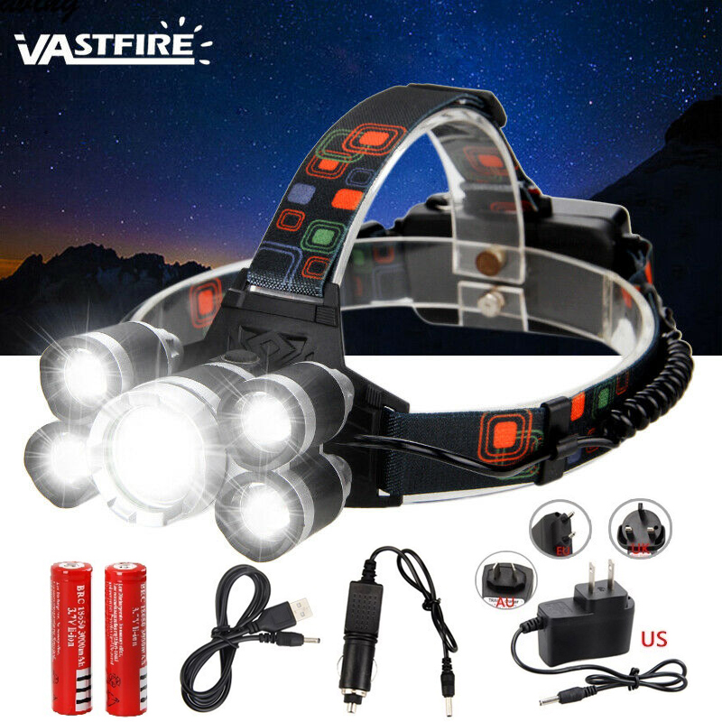 Super Bright 50000 Lumen 5X XM-L T6 Headlight Rechargeable Led Headlamp Fishing Camping Hunting Torch+2*18650+Charger+USB Cable