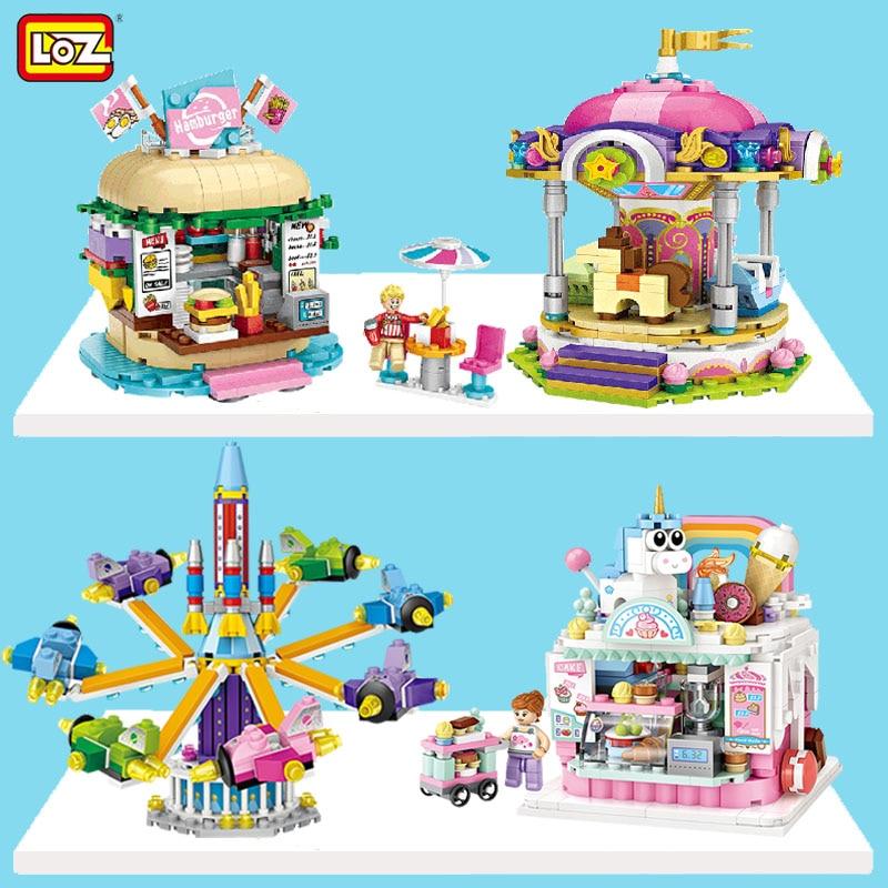 LOZ City Builidng Blocks Cake Drink Shop Juguetes Amusement Park Educational Plastic Mini Architecture Bricks Toys for Kids Gift