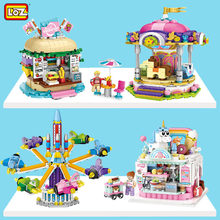 Loz cidade builidng blocos bolo loja de bebidas juguetes parque de diversões educacional plástico mini arquitetura tijolos brinquedos para crianças presente