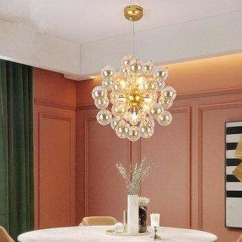 Подвесные лампы в скандинавском стеклянном шарике с пузырьками, Современный арт, ресторан, спальня, гостиная, кулон lgihts