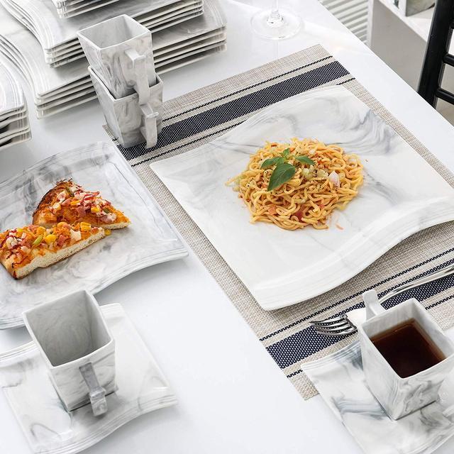 MALACASA Flora 30-Piece Marble Porcelain Dinnerware Set with 6*Dinner Plate,Dessert Plate,Soup Plate,Cups&Saucers Tableware Set 2