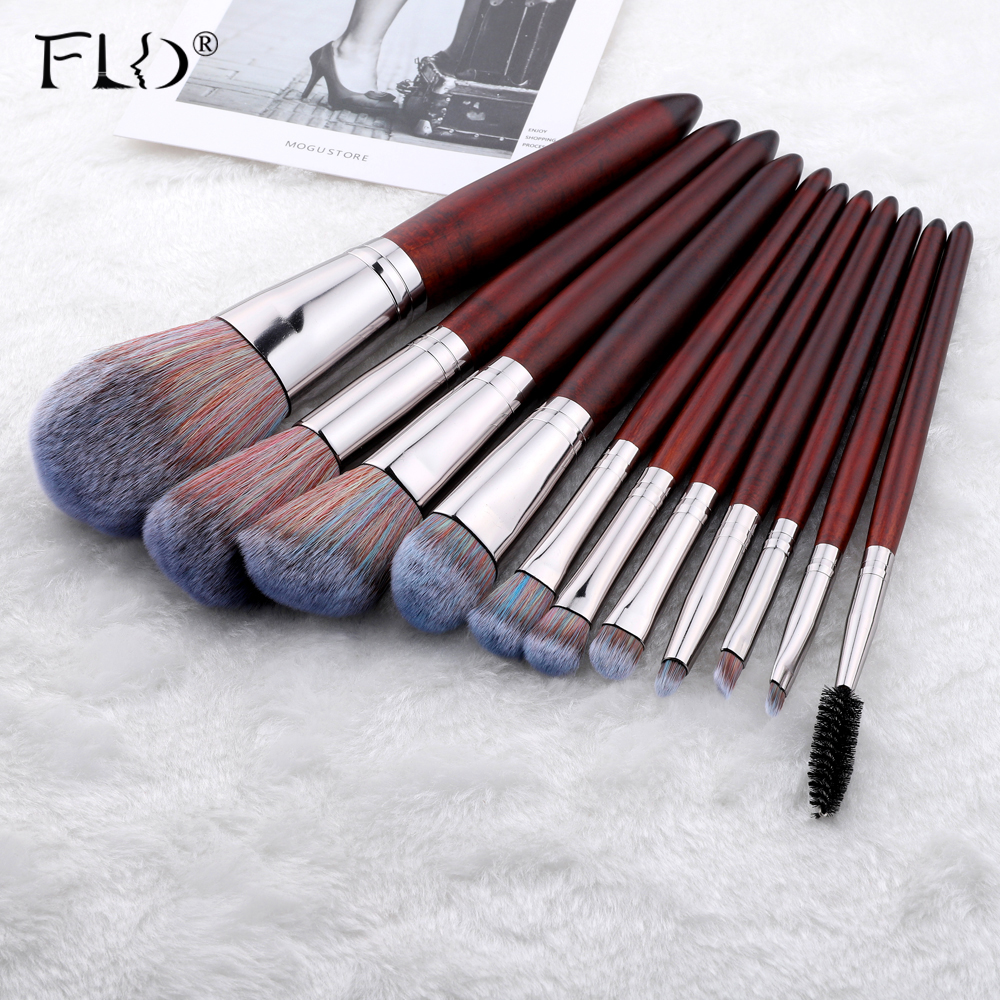 FLD 11Pcs Wood Handle Professional Makeup Brushes Set For Cosmetic Powder Foundation Women Face Tools Mutifunctional Kit