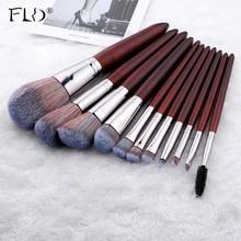 FLD 11Pcs Wood Handle Professional Makeup Brushes Set For Cosmetic Powder Founda
