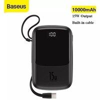 Baseus Power Bank 10000mAh cavo di tipo C incorporato 3A 15W caricabatterie per telefono Powerbank Display digitale Mini caricabatterie portatile Poverbank