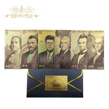 2020 New 6pcs/lot America Banknotes 1 5 10 20 50 100 Dollar Banknotes in 24k Gold Plated Fake Money Gold Plated Business Gift