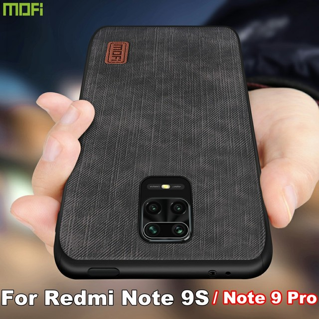 MOFi For redmi note 9s case for Mi Redmi Note 9 Pro max Cover Housing Silicone  shockproof jeans PU leather Black TPU Dustproof