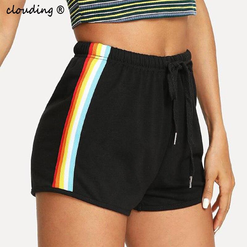 Женские спортивные шорты, радужные полосатые хлопковые спортивные шорты со шнуровкой и эластичной резинкой на талии, домашние шорты для девочек 2020|Шорты|   - AliExpress