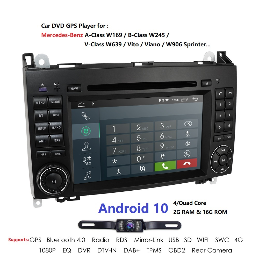 Android10.0 Car DVD Auto <font><b>radio</b></font> for <font><b>Mercedes</b></font> <font><b>Benz</b></font> B200 A B Class <font><b>W169</b></font> W245 Viano Vito W639 Sprinter W906 WIFI GPS DVR Mirror link image