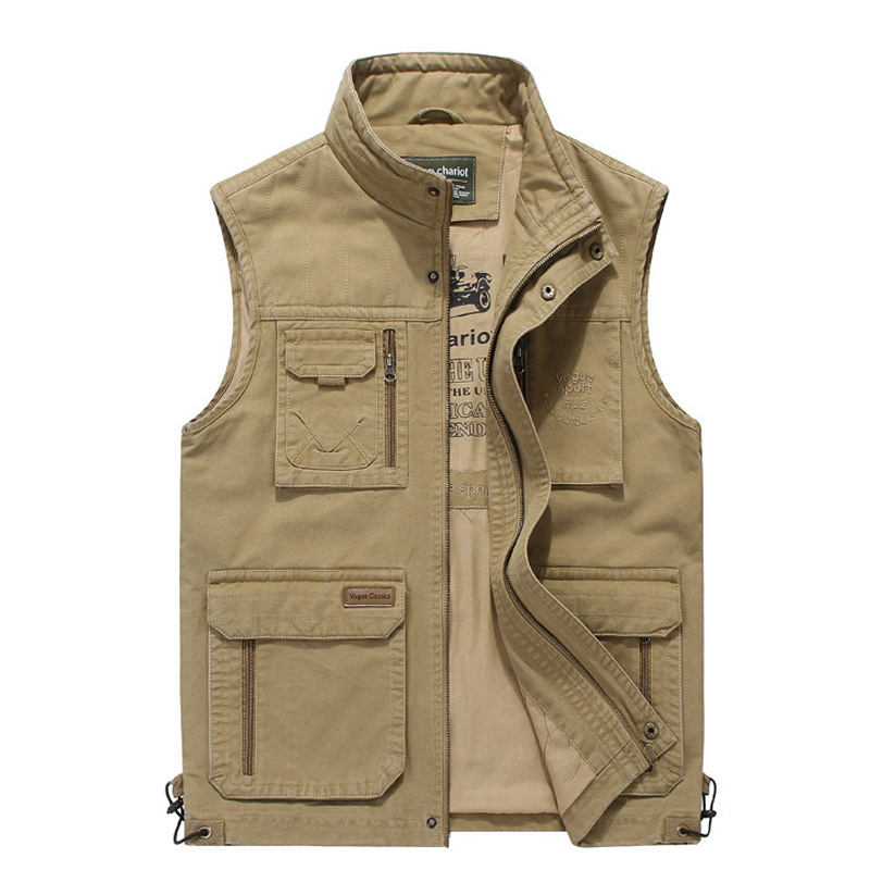 High Quality Reporter Travel Vest 100% Cotton Men Cargo Sleeveless Jacket Multi Pockets Tactical Clothing For Male M-4XL