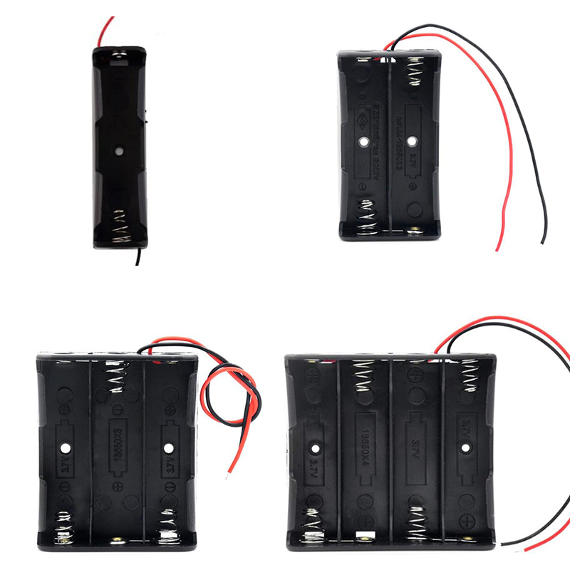 New Black Plastic 1x 2x 3x 4x 18650 Battery Storage Box Case 1 2 3 4 Slot Way DIY Batteries Clip Holder Container With Wire Lead