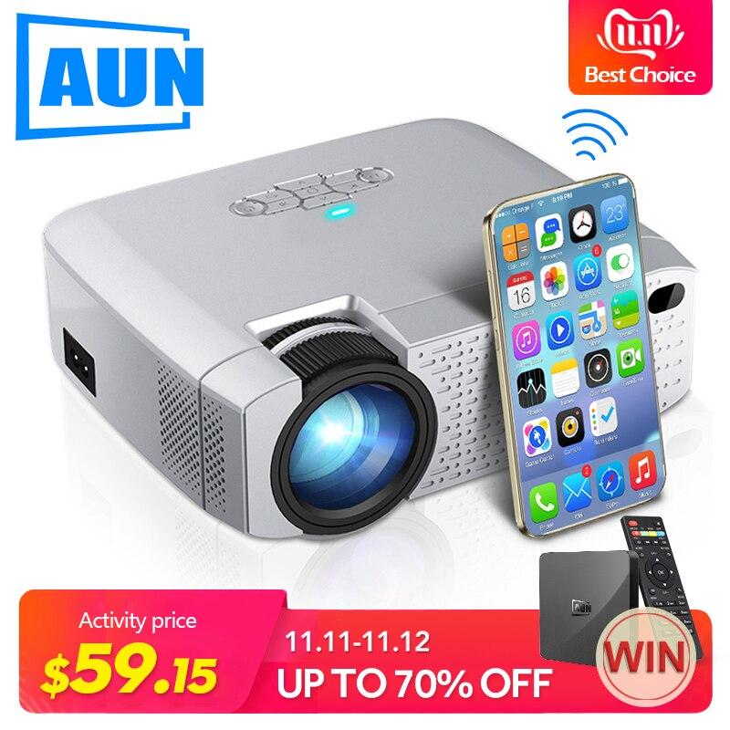 AUN FÜHRTE Mini Projektor D40W, Video Beamer für Home Cinema.1600 Lumen, Unterstützung HD, wireless Sync Display Für iPhone/Android Telefon