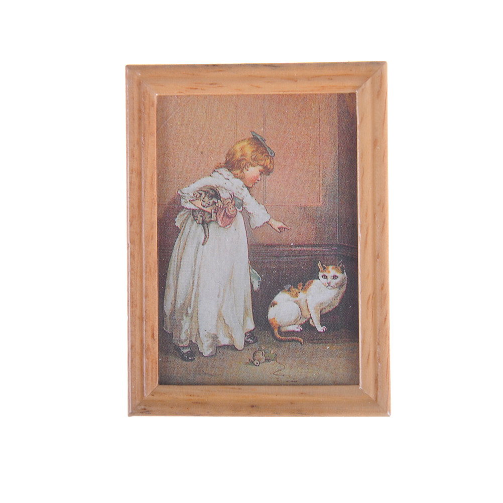 New Arrivals Resin Frame Girl And Cat Mural Wall Painting Dollhouse Miniature 1:12 Classic Toys Dollhouse Picture Decoration