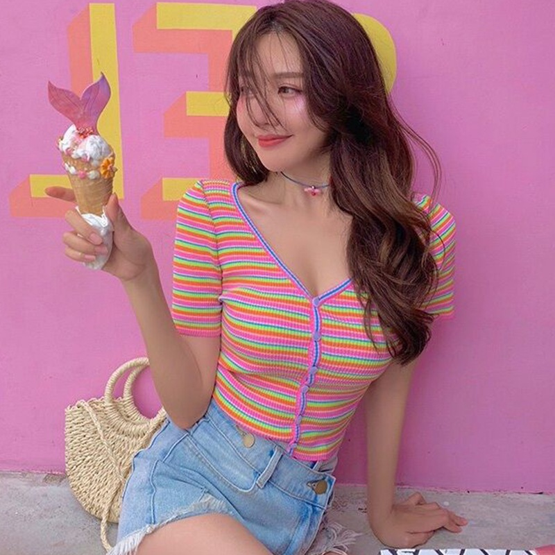 Women T Shirt Single Breasted Fashion V Neck Striped Short Sleeve Knitted Sexy Slim Crop Top T-Shirt