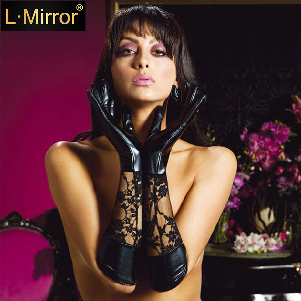 L.Mirror 1Pair Women Patent Leather Lace Gloves Opera Length Accessories