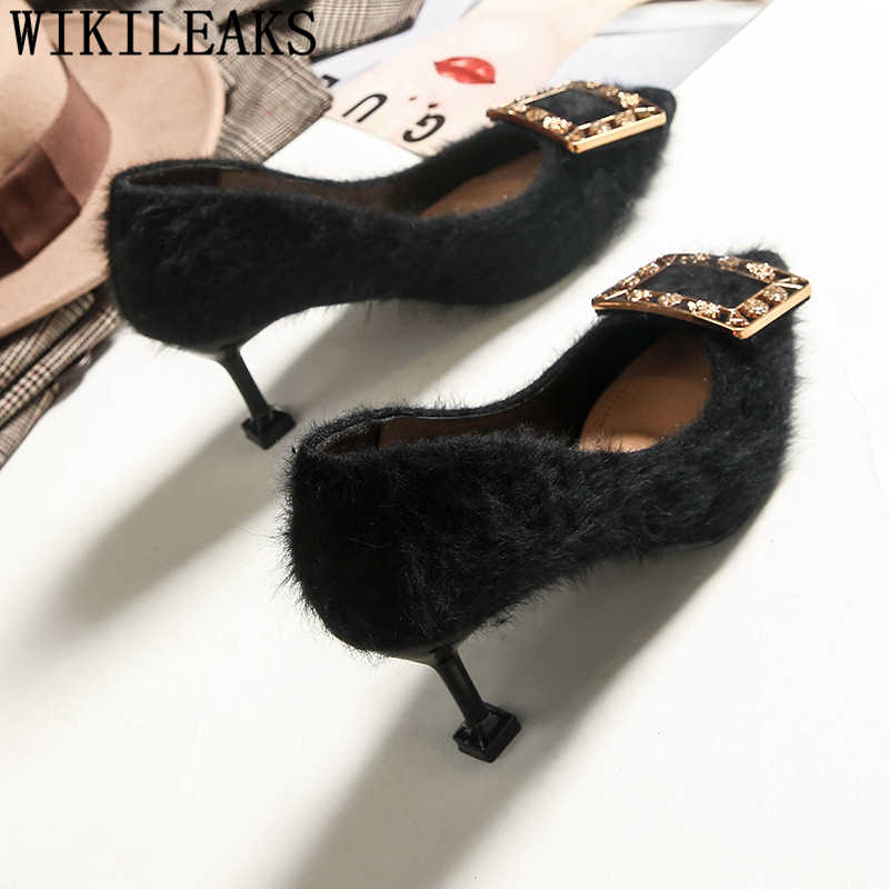 Bộ lông gót bơm nữ giày nữ cao gót sang trọng đế Đảng cho nữ Nhọn Đầu tôn sùng Giày cao gót gợi cảm Giày tacones mujer