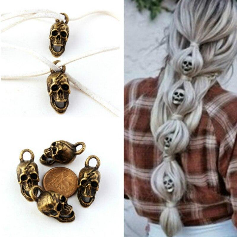 Hot Fashion Skull Hair Accessories DIY Hair Ponytail Skull 4 Piece + 80cm Velvet Rope Dreadlock Beads Multi-function Accessories
