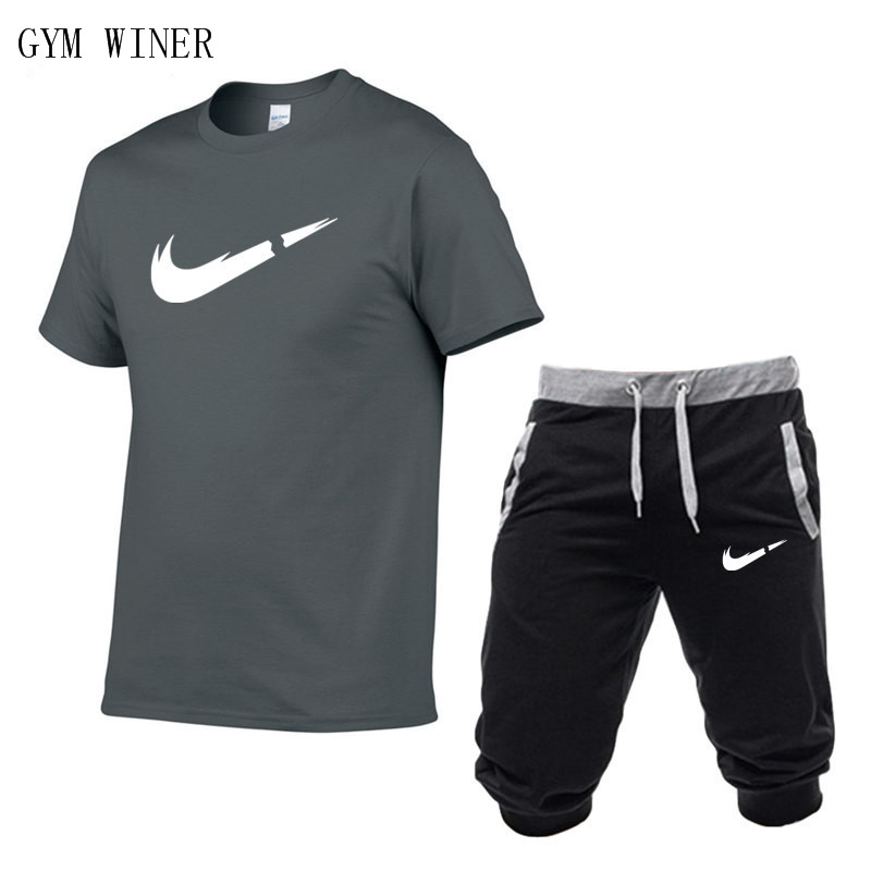 Image 2 - Summer New Tracksuit Men Shorts Casual Men's Sportswear Suit Shorts Brand Clothing Two Pieces Top Tee+Shorts Sweat Suits 2019-in Men's Sets from Men's Clothing
