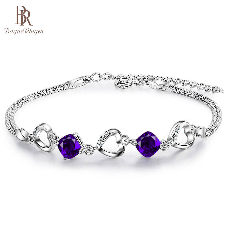 Bague Ringen Delicate Amethyst Heart Shaped Chain Bracelet For Women Contracted Gemstone Silver 925 Jewelry Dating Engagement