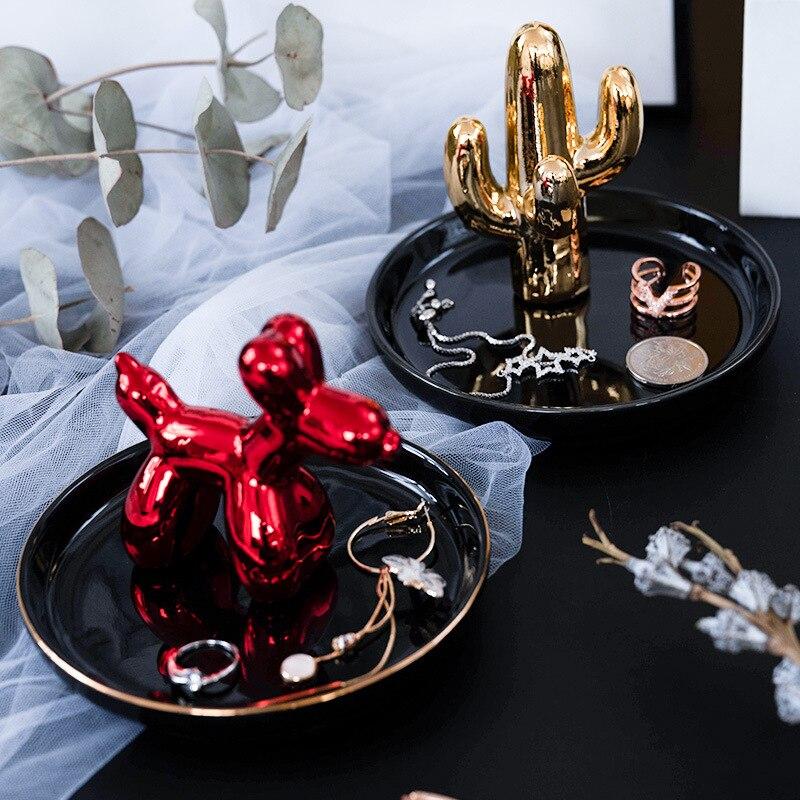 Nordic Ceramic Jewelry Key Tray Organizer Necklace Ring Display Plate Rabbit Flamingo Storage Tray Cactus Antlers Desktop Holder