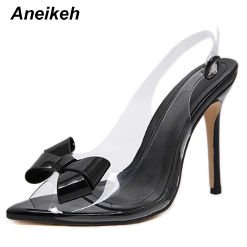 Aneikeh PVC Women Heeled Sandals Butterfly-knot Ankle Strap Pumps Super High Heels 12 CM Peep Toe Buckle Strap Dress Lady Shoes image