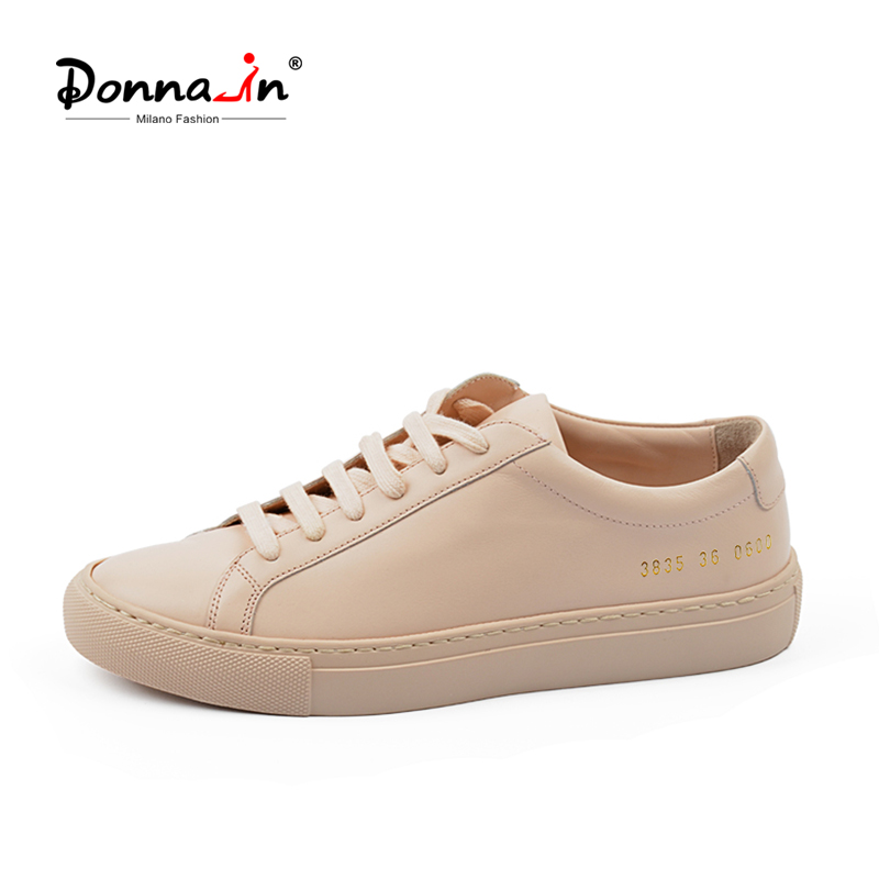 Donna-In Shoes Women Platform Lace-Up Low-Heel Nude Flat White Breathable Genuine-Leather