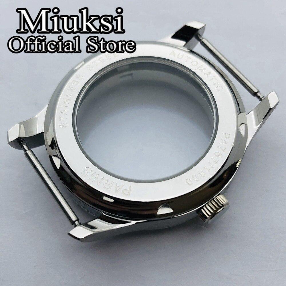 Miuksi 43mm caixa de prata de aço
