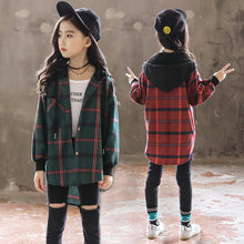 Girls Hooded School Blouses Plaid Shirt Long Sleeve with a Hood Slim Spring Autumn Girl Hoodie Blouse Princess Casual Top