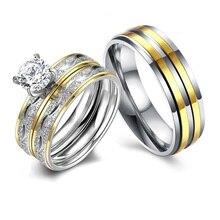 цена Classic Couple Ring Fashion Men women Lovers Ring Anniversary Gift Wedding Band Engagement Jewelry онлайн в 2017 году